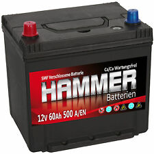 Autobatterie Hammer 12V 60Ah +Links Asia Starterbatterie ersetzt 55 56 61 64 Ah