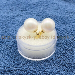 10-10.5mm AAAA+ Grade Real Natural Perfect Round White Akoya Pearl Earrings 14K