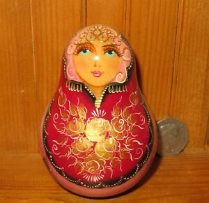 Roly Poly Russian wobbly DOLL Red Babushka in Kokoshnik hand painted signed GIFT