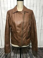 American Rag Women's Ice Brown Cognac Faux Leather Bomber Moto Jacket Size Large