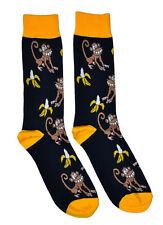 Mens Socks Monkey Banana Pattern 1 Pair Black Yellow Casual Fun Novelty Trouser