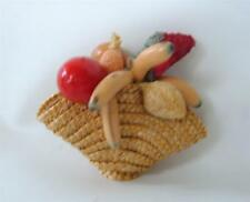 Vintage Miniature Woven basket Of Spun Cotton Lacquer Fruit France For Doll Pin