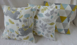 "3 Cushion Covers 16"" inch Hare Flower Duck Egg Blue Grey Yellow Handmade 40cm"