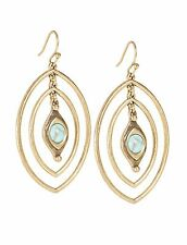 LUCKY BRAND Goldtone Double Oval with Simulated Turquoise Stone Hook Earrings