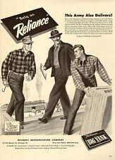 1943 WW2 AD  Reliance BIG YANK Work Clothing   Art  Men at Work! 070415