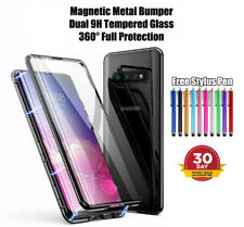 For Samsung Magnetic Adsorption Flip Case Front and Back Tempered Glass Cover