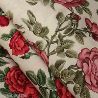 Shabby Chic Style Fabric Red Roses Pink Roses Vintage Style 100% Cotton Fabric