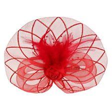 Flower Feather Fascinator Headband Hat Wedding Prom Ladies, Red J6O3