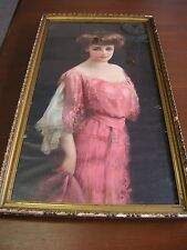 """Woman in Pink Dress Vintage Framed Print 14"""" x 28"""" print only AS IS see photos"""