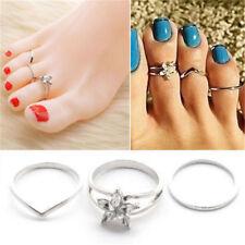 Metal Toe Ring Foot Beach Jewelry 3Pcs/set Celebrity Women Punk Fashion Silver