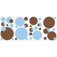 Polka Dot Wall STICKERS BiG 23 Room Decor Blue Brown Decals Baby Nursery NEW