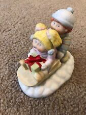 Xavier Roberts 1984 Cabbage Patch Kids Sled Christmas Porcelain Figurine