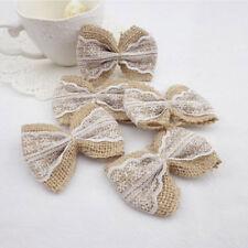 10pcs/lot Jute Burlap Hessian Ribbon Bowknot Vintage Wedding Decoration Set