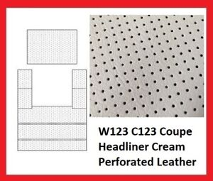 Mercedes W123 Coupe Sunroof Roof Sky Ceiling Headliner Cream Perforated Leather