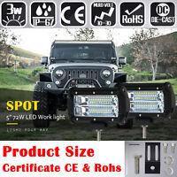 "1/2/4pcs 24 LED Work Spot Light Car Flood Bar Offroad Fog Lamp Jeep SUV 5"" 72W"
