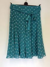 HOBBS TURQOUISE SPOTTED SILK KNEE LENGTH SKIRT SIZE 8