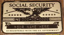 Metal Social Security Id Card Eagle Custom Engraved