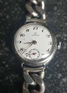 OMEGA Armbanduhr mit massiven Panzerketten Armband, Sterlingsilber 925