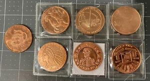 Lot of 7 - one ounce copper rounds, Dont tread on me, Memento Mori, White horse