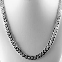 """Mens 30"""" 7.8mm Solid 925 Sterling Silver Cuban Link Flat Curb Chain 47 grams"""