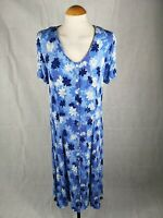 Ladies Dress Size 18 BM Blue Button Down Crinkle 90s Style Smart Casual Day