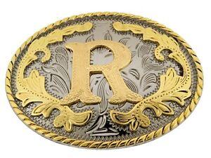 Initial Letter R Belt Buckle Western Rodeo Cowboy hebilla de cinturón inicial