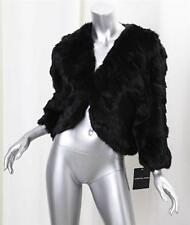 ADRIENNE LANDAU Black Genuine Rabbit Fur Long-Sleeve Bolero Jacket Coat L NEW