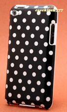 for iPod touch 4th 4 th 4 g itouch case black w/ white polka dots hard back case