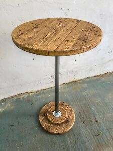 Rustic Reclaimed Solid Wood / Scaffold Board Industrial Style Poseur/ Bar Table