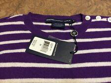 RALPH LAUREN GOLF Cashmere Blend Purple Stripe Sweater $225 New