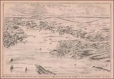 CHESAPEAKE BAY, JAMES RIVER & SURROUNDING AREAS, MAP, ORIGINAL ANTIQUE 1881