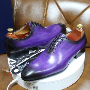 2021 men's formal shoes blue purple Oxford men's wedding shoes party shoes
