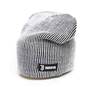 Juventus FC long slouchy contemporary knit beanie hat, black/white
