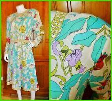 Averardo BESSI Vtg 1970s Italy 100% Silk Jersey Floral Print Long Slv DRESS L XL