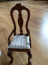 Vintage Cushioned Wooden Dollhouse Chair & Mini Doll Stand