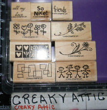 STAMPIN UP SMORGASBORDERS 9 RUBBER STAMPS LOVE KIDS OAK LEAVES FLOWERS - NICE!