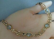 Vintage, 9ct Gold & Blue Topaz Filigree Bracelet.    Ref: xaeod