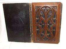 Antique Carved Oak Gothic Folding Ink Blotter / Desk Blotter Carved Oak Panels