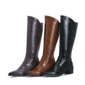 Women Mid Calf Boots Cuban Heel Cowboy Biker Faux Leather Boots Shoes