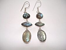 "AB Superior Blue Fire Labradorite Dangle .925 Silver Hook Earrings 2.5"" Handmade"