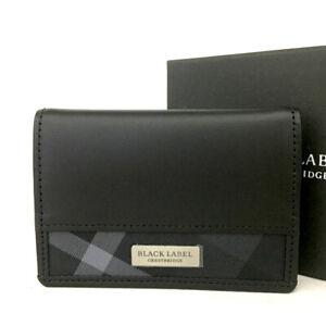 Unused BLACK LABEL Black Leather Coin Purse walle/E1221