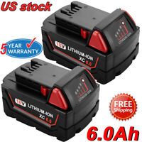 2X 6000mAh For M18 48-11-1852 18V Li-Ion XC 5.0 for Milwaukee 48-11-1860 Battery