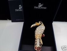 Signed Swan Swarovski Gold Plated Gorgeous Parrot Brooch Pin