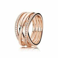 925 Sterling Silver Rose Gold Openwork Eternity Entwined Crystal Gift New Ring