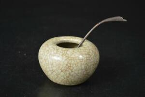 U4505: Chinese White glaze WATER POT Suiteki Calligraphy tool