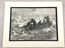 1875 Antique Print British Arctic Expedition Polar Bear Hunting Sailors Boat