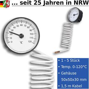Analog Thermometer Zeigerthermometer Kessel Speicher Ofen mit Fühler 0 - 120°C