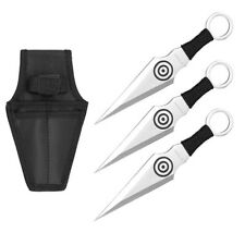 """3pc 6.5"""" Target Throwing Knife Set 440 Stainless Nylon Storage Case Pouch Black"""