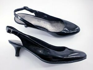 M&S Footglove size 7.5 black patent leather buckle slingback kitten court shoes
