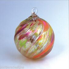 Glass Eye Studio AUTUMN TWIST Hand Blown Art Glass Round Ornament 105L